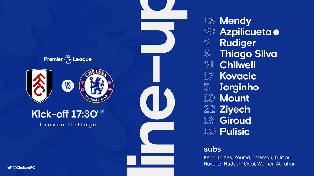 Replying to @ChelseaFC: Here's your Chelsea line-up! 📝  #FULCHE