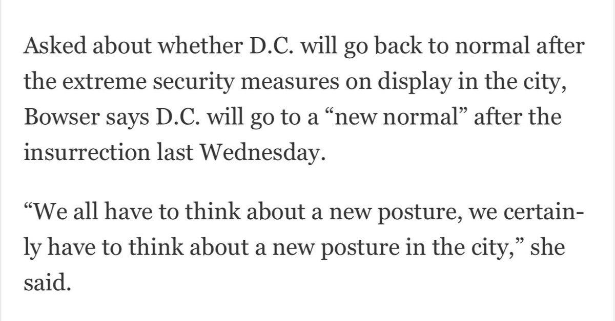"""Ugh. Bowser asked whether DC will return to normal after the extreme security measures in place right now. Says there will be a """"new normal"""""""