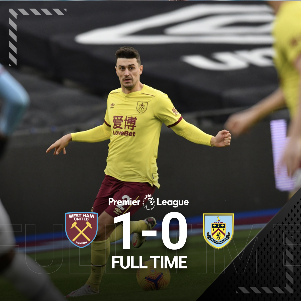 It's all over in London.  The Hammers take all three points.   #WHUBUR | #UTC