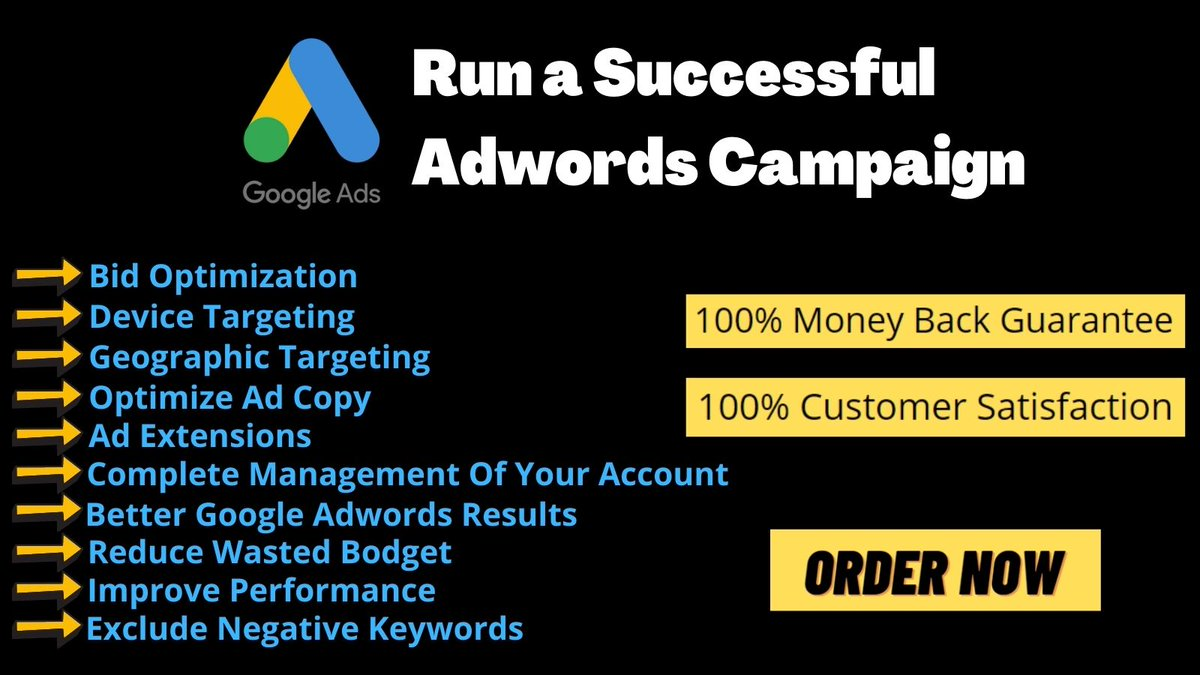 I will setup and manage your Google Ads Adwords PPC Campaigns #PPC #ecommerce #Googleadwordsservice #DigitalMarketing #ads #boost #freelancer #hire #marketing #googleads #ppcadvertising #marketingads #marketingtricks #googleadsexpert #googleadstips #facebookads #facebookadstips https://t.co/WthqzUbKTK