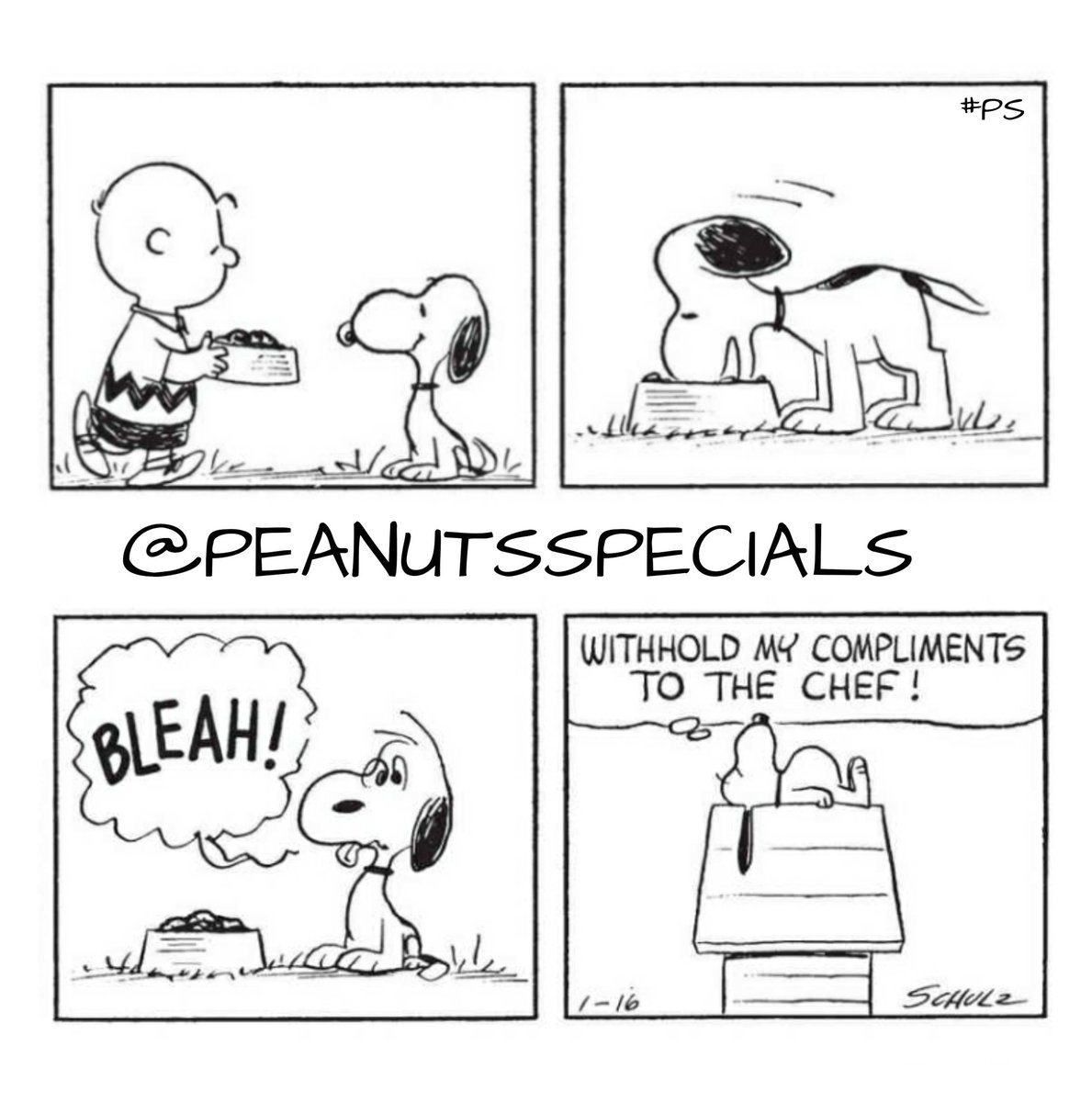 First Appearance: January 16, 1965 #snoopy #charliebrown #bleah #withhold #my #compliments #chef #peanutssaturday #peanutsstrong #peanutshome #schulz #ps #pnts #peanuts #officialpeanutsspecials
