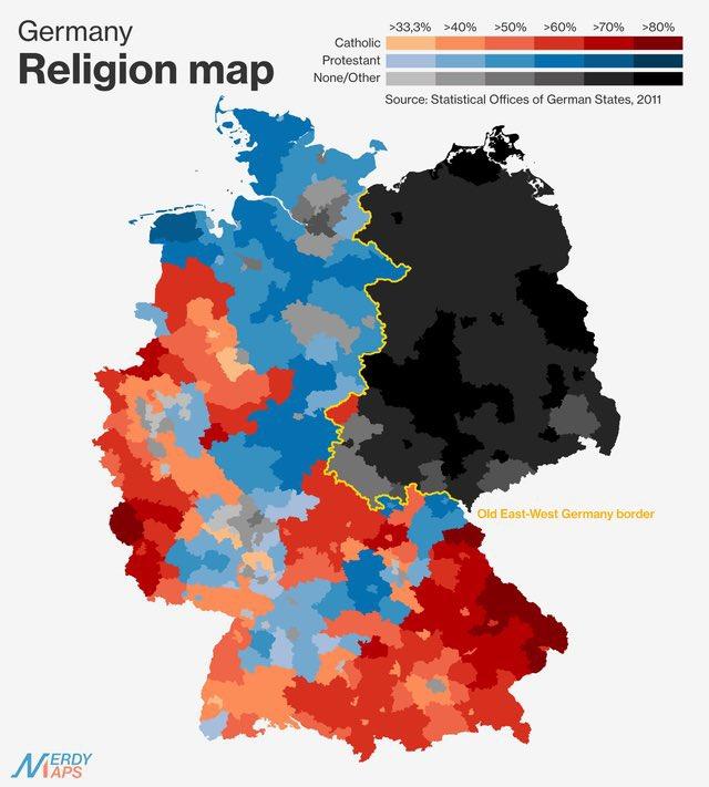 MAP BREAK  Religion in Germany today https://t.co/yaUiq2jSXw
