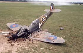 """Account from an old friend of mine: shot-up, crash-lands, Spitfire cartwheels, goes through a wall and flock of sheep; soldier runs up to pilot as the whole mess rights itself: """"You alright, chum?"""" """"No. I've swallowed my f***ing chewing gum!"""" Quality! @SocietySpitfire"""