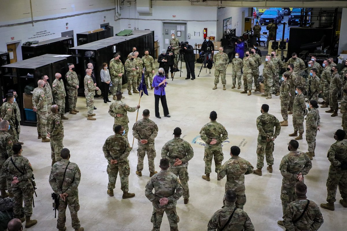 The 182nd Infantry is the nation's oldest army regiment and today they're deploying to Washington, D.C. to defend the People's House. Thank you for once again forming to protect our nation and our democracy.