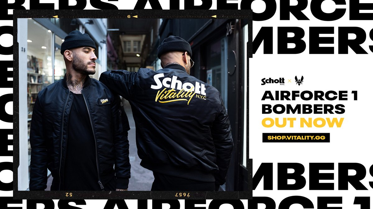 Team Vitality - Iconic brand and major influencer in the fashion world, we proud to reveal our exclusive Schott bomber. Available now. 🧥