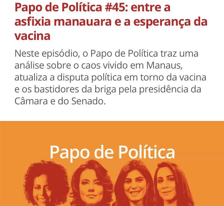 Novo episódio do #papodepolitica no ar com tudo o que você precisa saber para ficar informado sobre a semana!  Comigo, @AndreiaSadi, @majucoutinho e @juliaduailibi (de volta das rápidas férias💃🕺).  @GloboNews