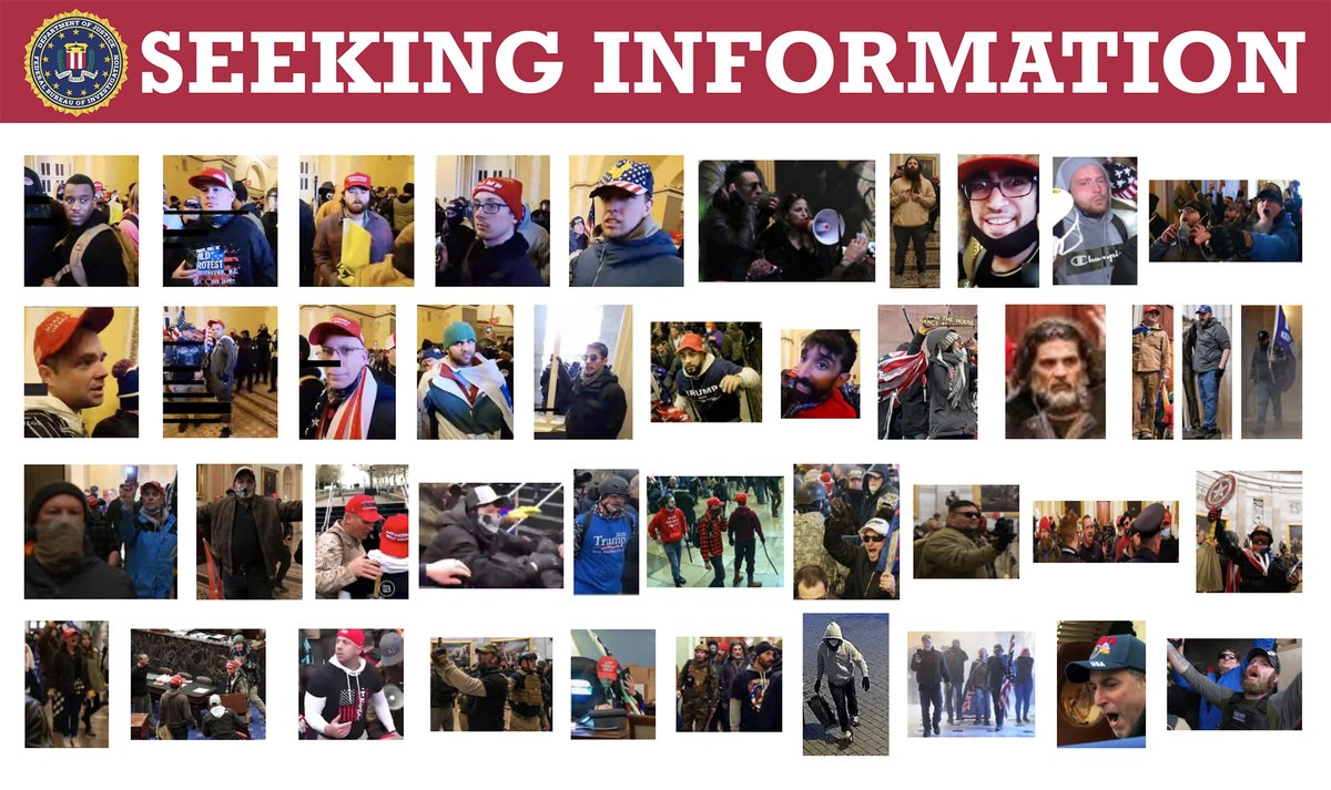 The #FBI needs your help identifying individuals who instigated violence on January 6 in Washington, D.C. Visit  to see images from current cases, and if you see someone you recognize, submit a tip at . #SeekingInfoSaturday @FBIWFO