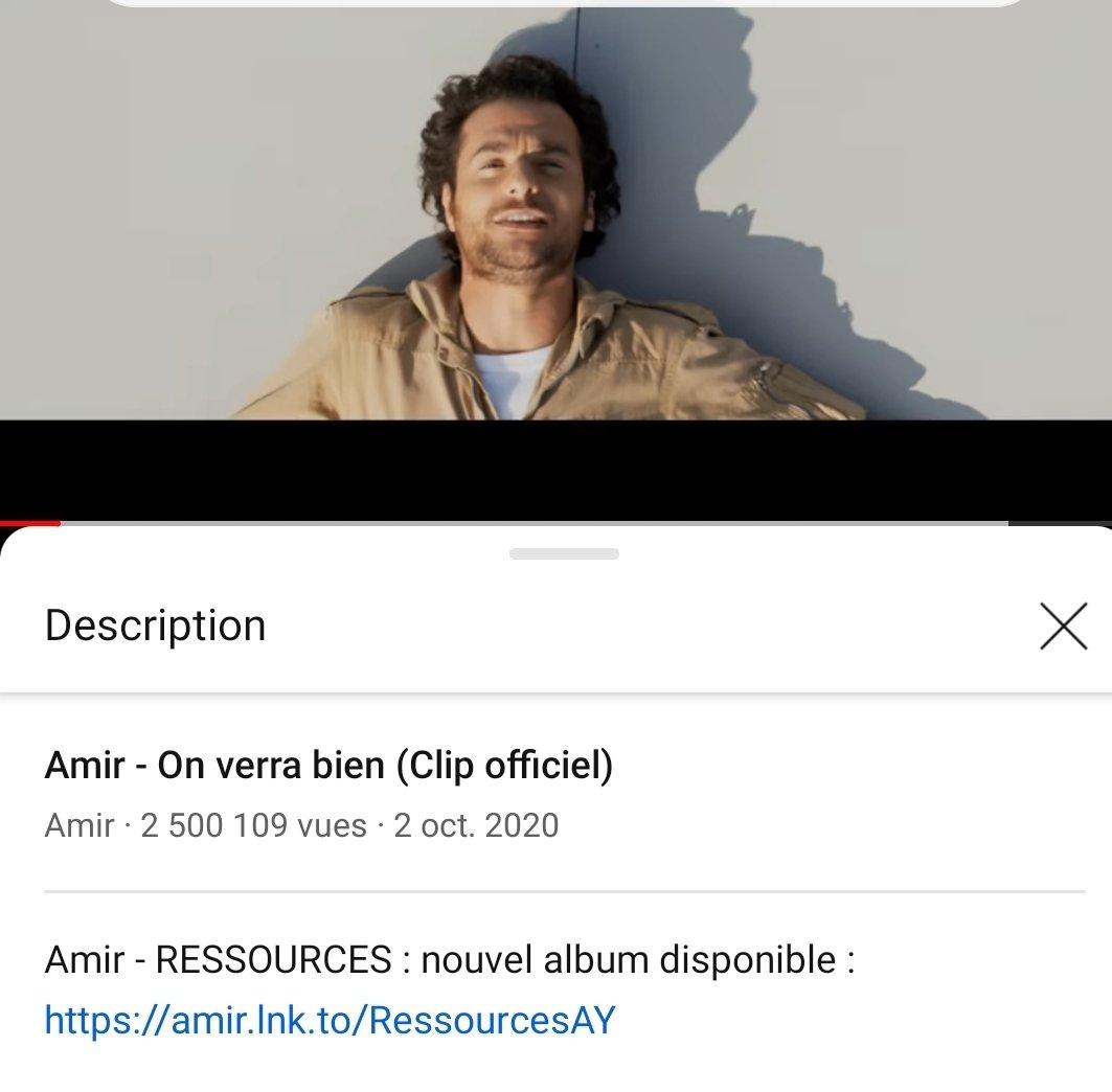 @Amir_Off !  #Ressources  #OnVerrabien,  2 500 000 vues #YouTube !  Genial !  Félicitations #Amir  !