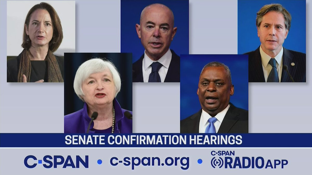 TUESDAY: Senate confirmation hearings begin for President-elect Bidens nominees for DNI and Secretaries of Homeland Security, State, Treasury and Defense. Watch all the hearings on the @cspan networks. c-span.org