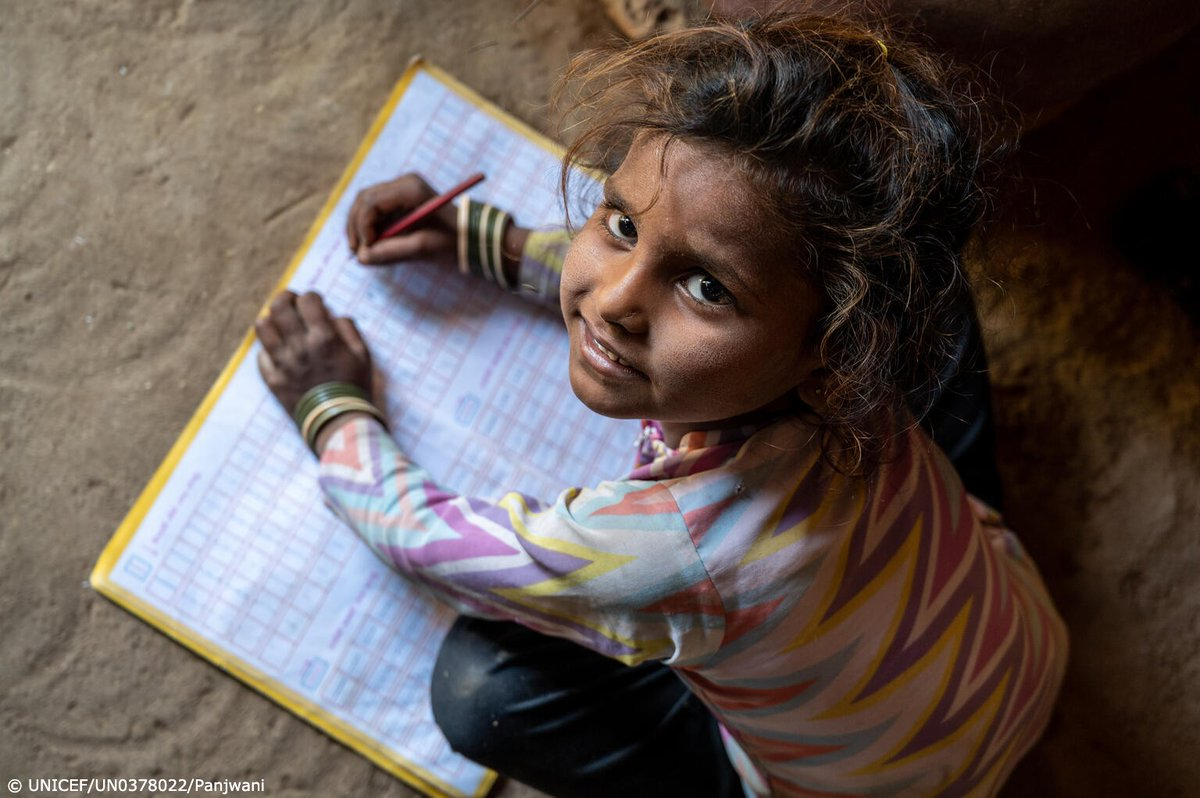 Six-year-old Rupal from India has very limited means to continue her education.   UNICEF calls for urgent action to bridge the digital divide and prioritise the reopening of schools.