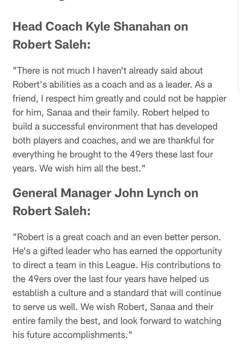 RT @BrianCoz: Statements from 49ers coach and GM on new Jets coach Robert Saleh #nyj https://t.co/Z5o5YcpXar