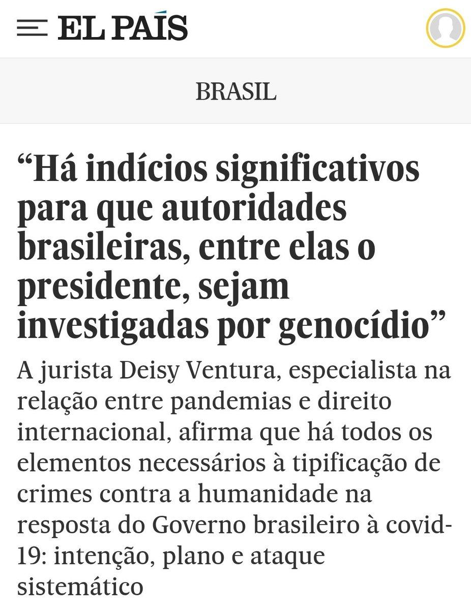 A entrevista de Eliane Brum com Deisy Ventura deixa evidente: Bolsonaro e as autoridades coniventes com ele podem ser condenadas por crime contra a humanidade. Impeachment é pouco. Bolsonaro merece prisão. #ForaBolsonaro