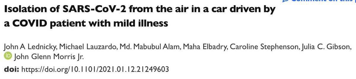 📌1/Infectious #SARSCoV2 in the air of a car 2 hrs after unmasked driver w/mild #COVID exited vehicle. Researchers found the virus in tiny air samples (0.25-0.5 um) and showed the virus retained ability to infect cells in a lab. H/T @UniversalMaski2 1/8🧵