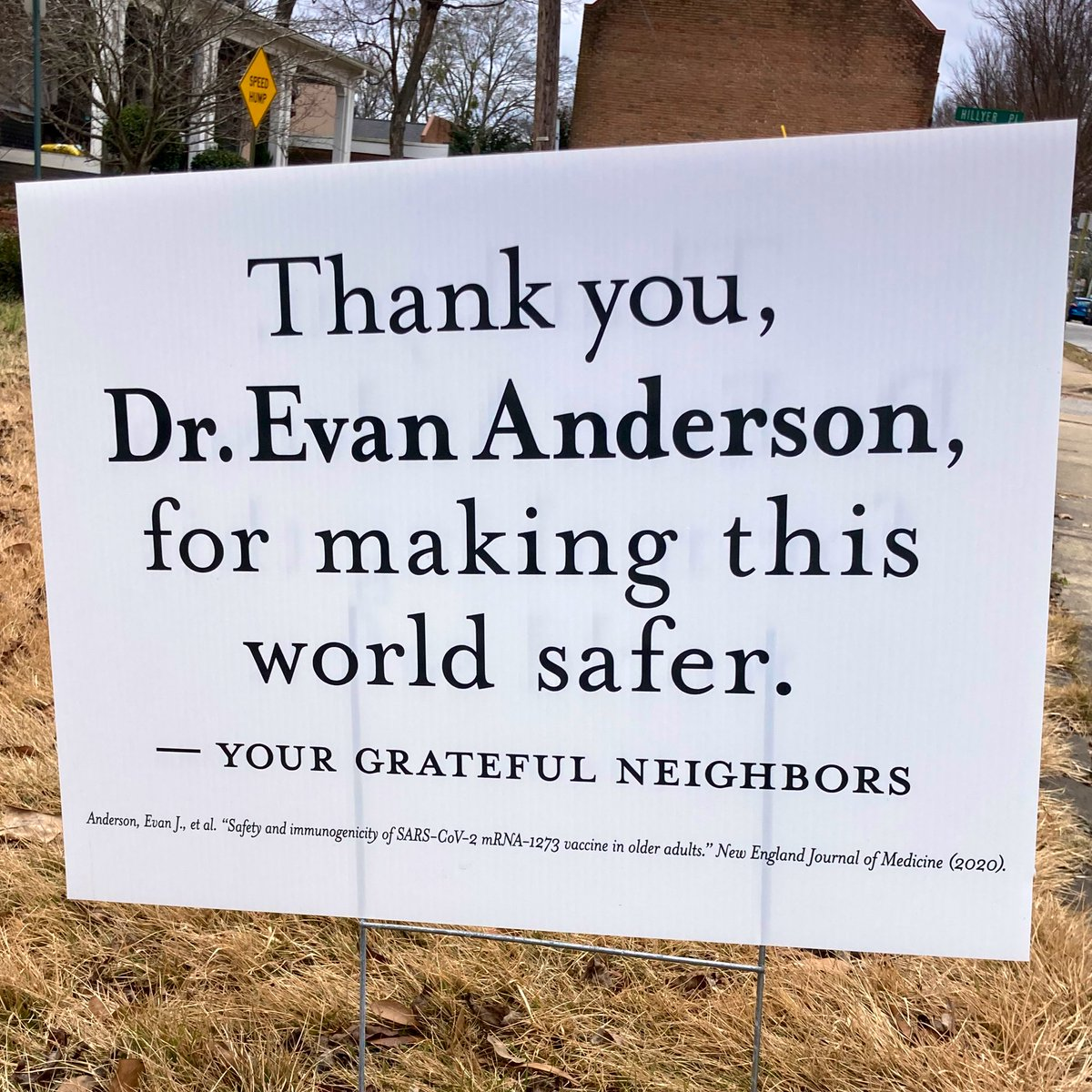 I've seen a lot of different yard signs this year, but this one is my favorite. Thank you Dr. Anderson! And thank you to his neighbors for properly citing his research! #research #footnotes #academia #Science #gratitude #citations #AcademicTwitter #MedicalTwitter