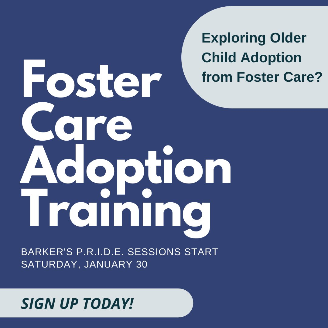 Do you want to better understand a child's needs currently waiting in #fostercare? Do you wonder if you will be able to meet their needs? Sign up for Barker's foster care adoption training! Sessions start Saturday, January 30. Learn more and register https://t.co/ZyNnYwJvXP https://t.co/avic9ksbUM