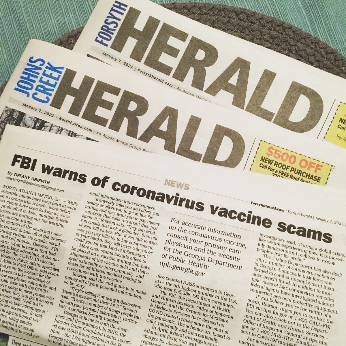 My story with @FBIAtlanta about #coronavirus #vaccine scams. Scammers are making millions off those in need. You can read the story via the link to my website. Just visit the newspaper section and read the article with a free account:   👩🏾💻 #journalist