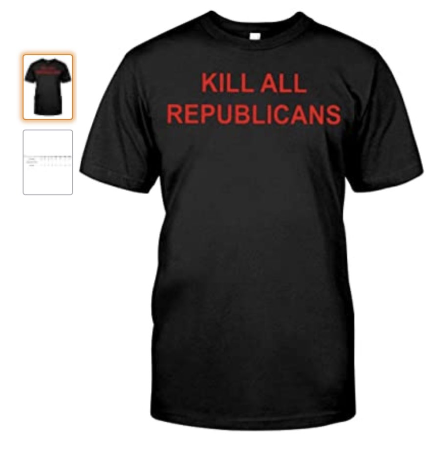 Amazon banned Parler, but allowed people to buy this shirt from their website.  Unbelievable.