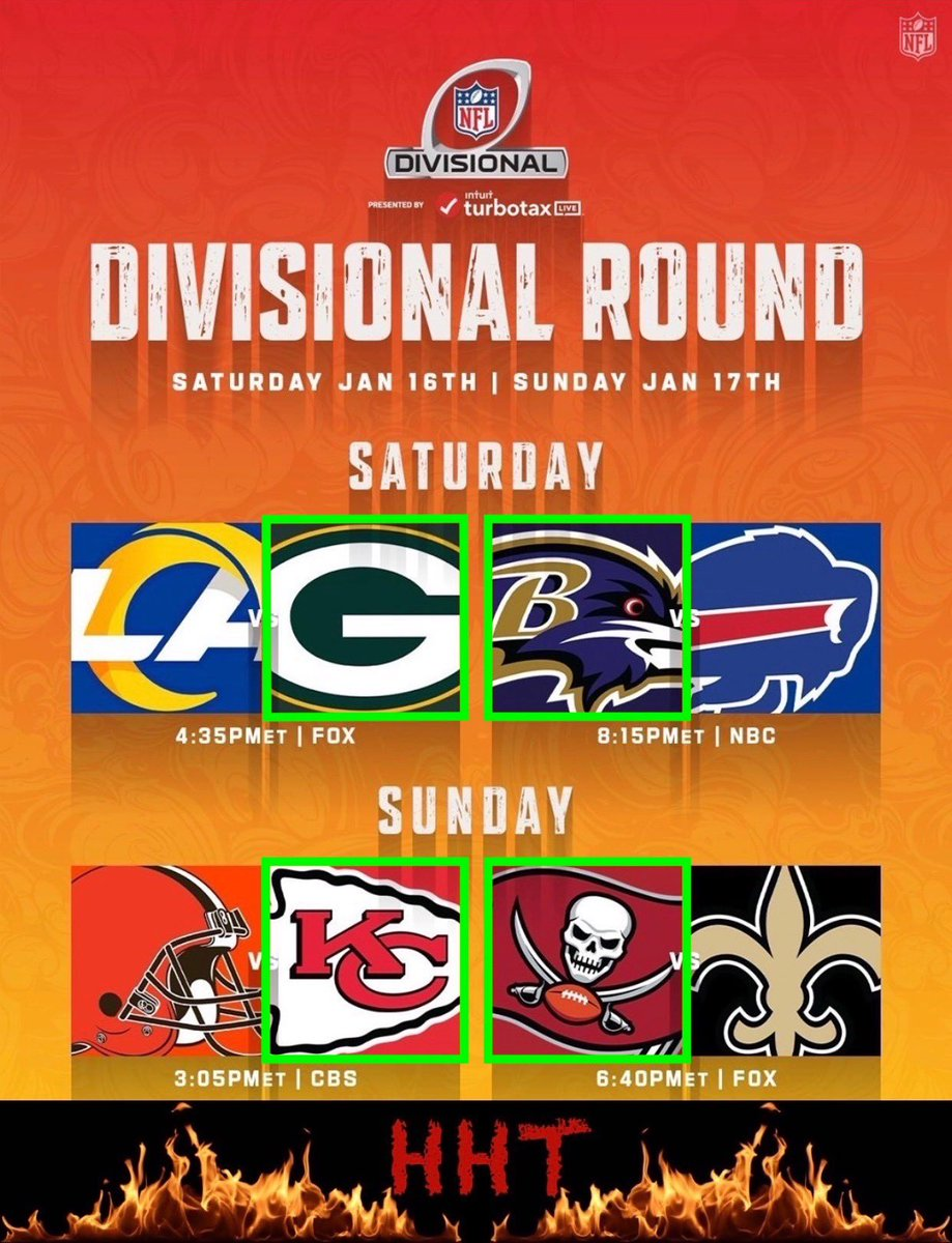 Round 2 of the #NFLPlayoffs are here!! Here are my picks for the Divisional Round🔥 #NFL #GoPackGo #RavensFlock #RunItBack #GoBucs #HHT