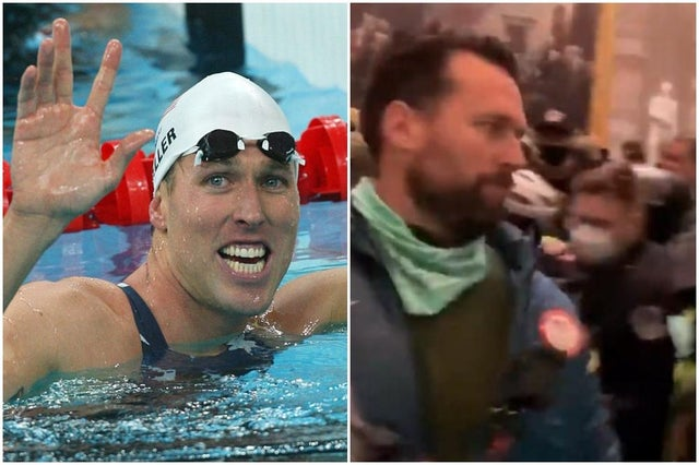 ARRESTED: Klete Keller, 38, former competitive swimmer. He won five medals at the Summer Olympics before retiring. He is charged with obstruction of an official proceeding, violent entry & disorderly conduct on restricted grounds.