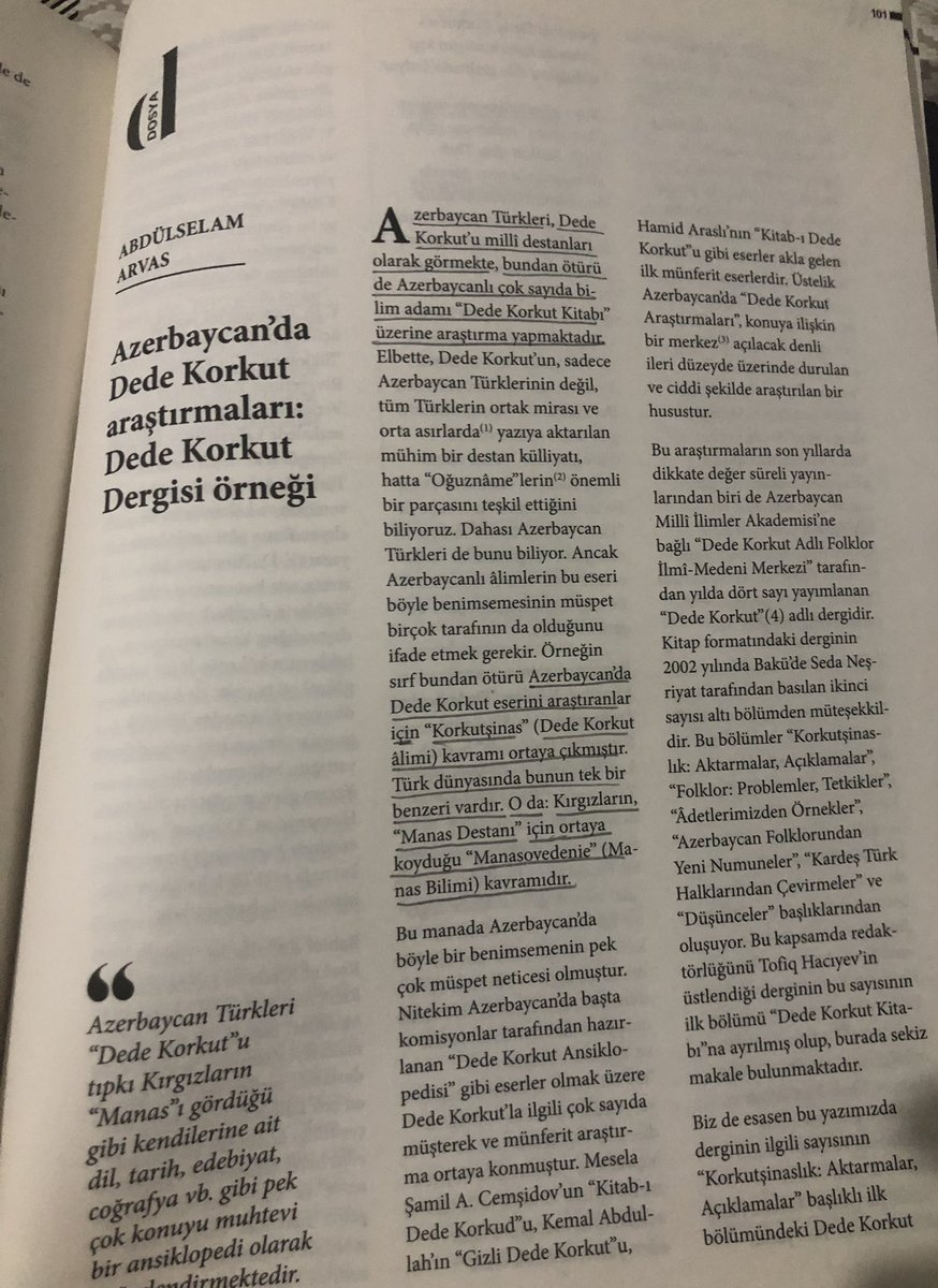 - Azerbaycan'da Dede Korkut  araştırmaları - Kafkas İslam Ordusu ve Nuri Paşa - Azerbaycan edebiyatına genel bir bakış - Rauf Denktaş'ın Azerbaycanlı yazarların değerlendirmeleri.   Dopdolu bir sayıdır... Teşekkürler Muhit Dergi. https://t.co/nRszq0aHKm