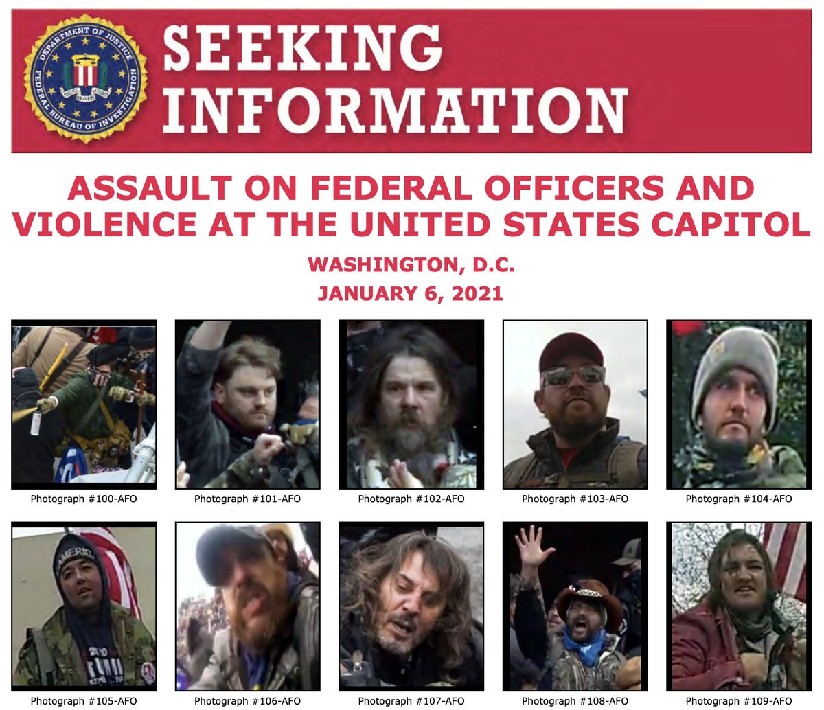 The #FBI needs you to help us identify individuals who unlawfully entered the U.S. Capitol and assaulted law enforcement officers on January 6. Visit  to see a new poster with more people. If you recognize someone, submit a tip at .
