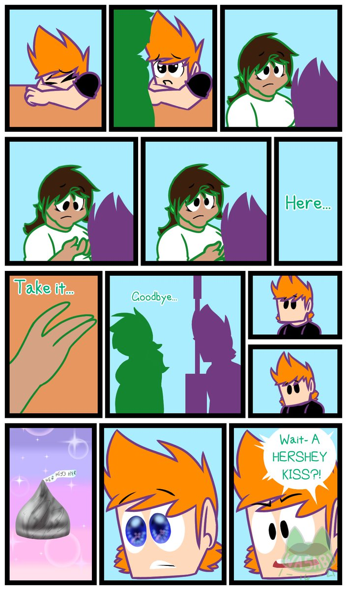HERE'S MY DUMBASS FORGETTING TO DRAW MY GLASSES I'M GOING APESHIT Today is Nothing Day. Well, technically this means nothing since it isn't Kiss a Ginger Day anymore but I kept losing motivation. Anyway, here's my piece haha. The girl in the comic is me #eddsworld #fanart #comics https://t.co/65AyEw0KY3
