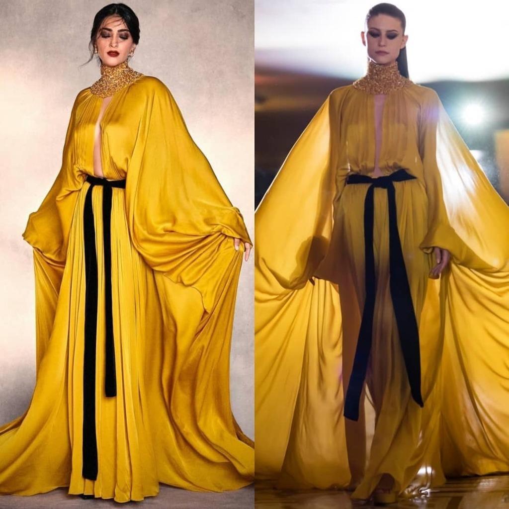 Sonam Kapoor de Stéphane Rolland Alta-Costura Inverno 2019 promovendo o filme'AK Vs AK'. #SonamKapoor #StéphaneRolland#AKVsAK 📸 Reprodução Instagram / Vogue Runway