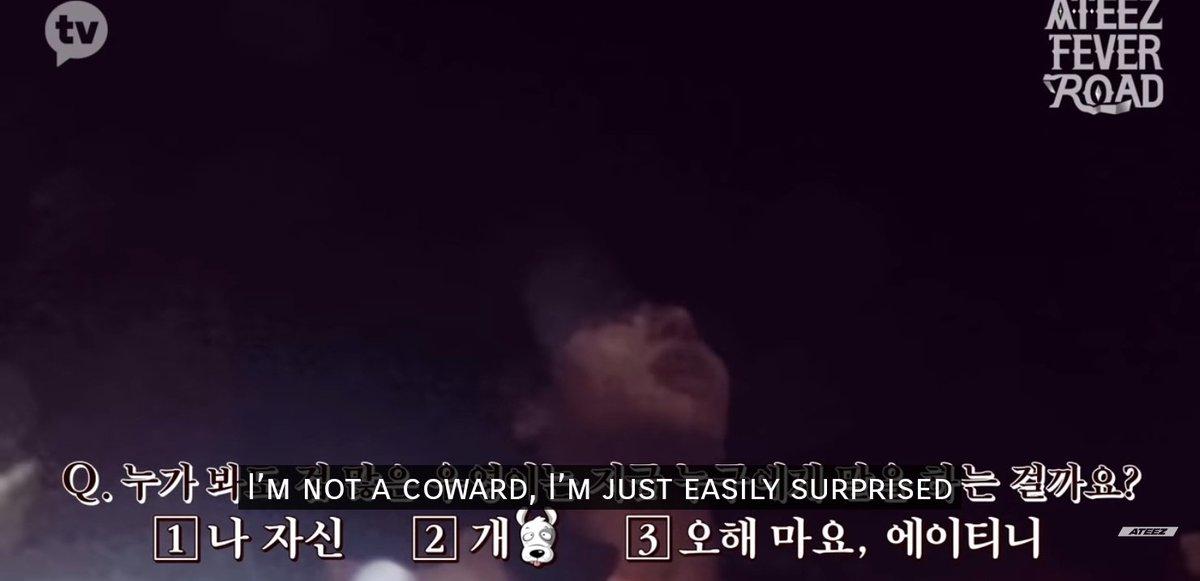 """#Wooyoung 2020  """"Je ne suis pas un trouillard je suis juste facilement surpris""""   Nn serieux je ne sais plus quoi faire de lui XD"""