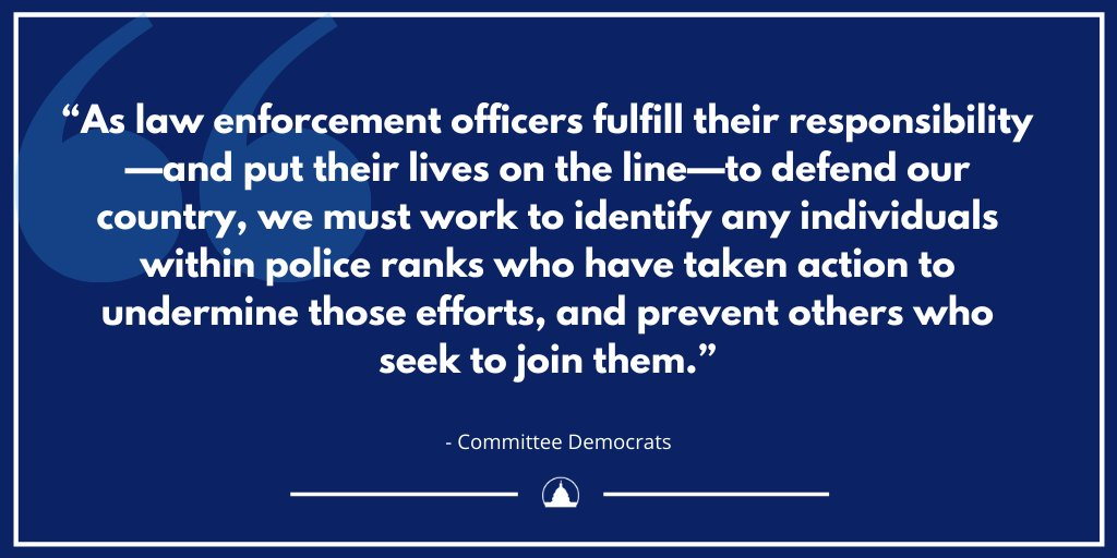 NEW: Committee Democrats led by Chair @RepMaloney  and @RepRaskin have requested the Major Cities Chiefs Association do their part to identify and prevent the ongoing threat of additional attacks on the capital and across the nation.     Read their letter: