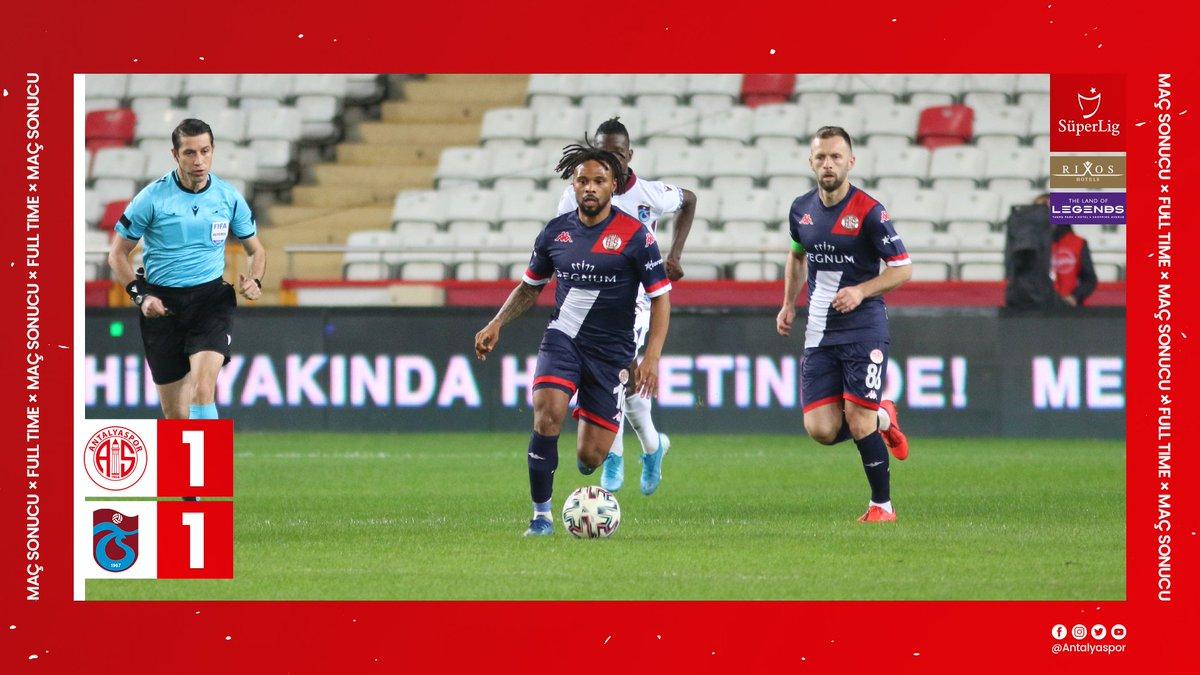 ⏱ Dk.90: Takımımız, Süper Lig 2020-21 Sezonu'nun 19. haftasında Trabzonspor ile 1-1 berabere kaldı.  #FraportTAVAntalyaspor