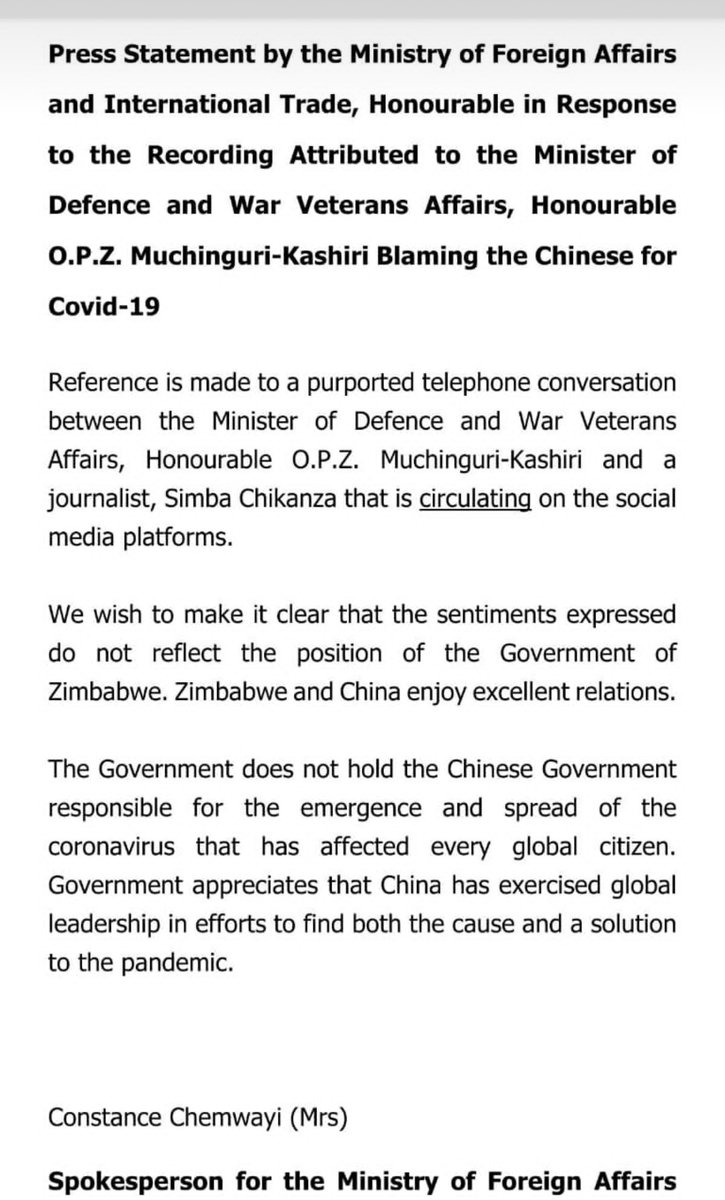 Fearing a diplomatic row with #China, @MoFA_ZW says utterances in the recording attributed to Defence minister Oppah Muchinguri-Kashiri does not reflect the views of #Zim. In the recording the Minister blamed  China for the spread of Covid-19  @ZiFMNews @984News1 @HevoiNews https://t.co/HaYAObLyLX