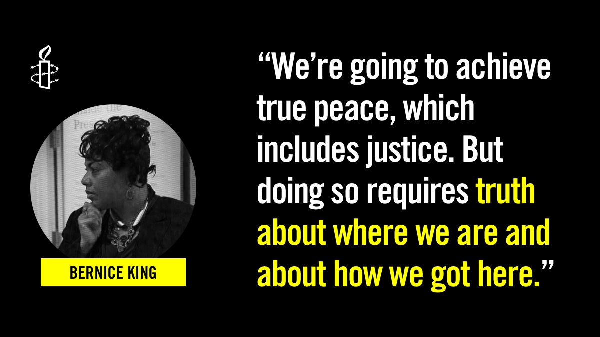 """We're going to achieve true peace, which includes justice. But doing so requires truth about where we are and about how we got here."" - @BerniceKing #MLK"