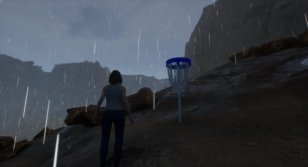The upcoming weather effects in Ultimate Disc Golf will build up wetness and puddles on the course in real-time including the terrain, tee pads.  Rain will start dynamically based on changing cloud density.  #DiscGolf #GrowDiscGolf #Golfing #IndieGame #IndieWatch #UE4 #Gaming