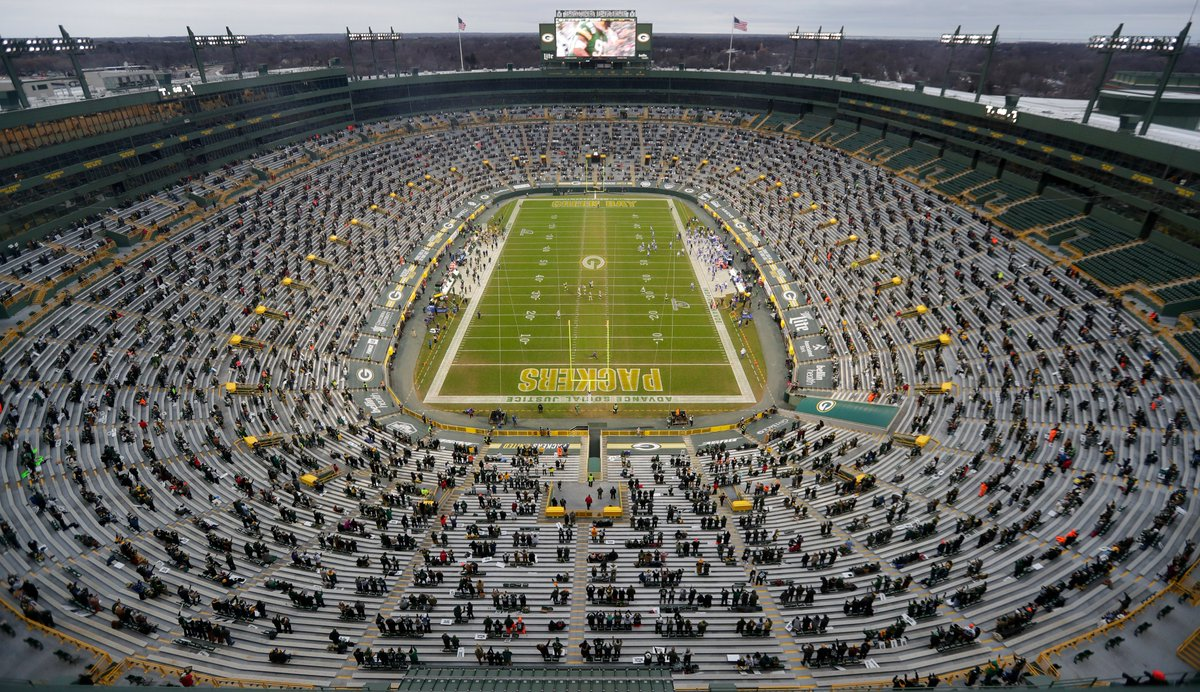 Wish I was there #GoPackGo RT @SarahKloepping: This is what Lambeau Field looks like with about 8,000 fans in the stands for the #Packers playoff against the Rams. #LARvsGB