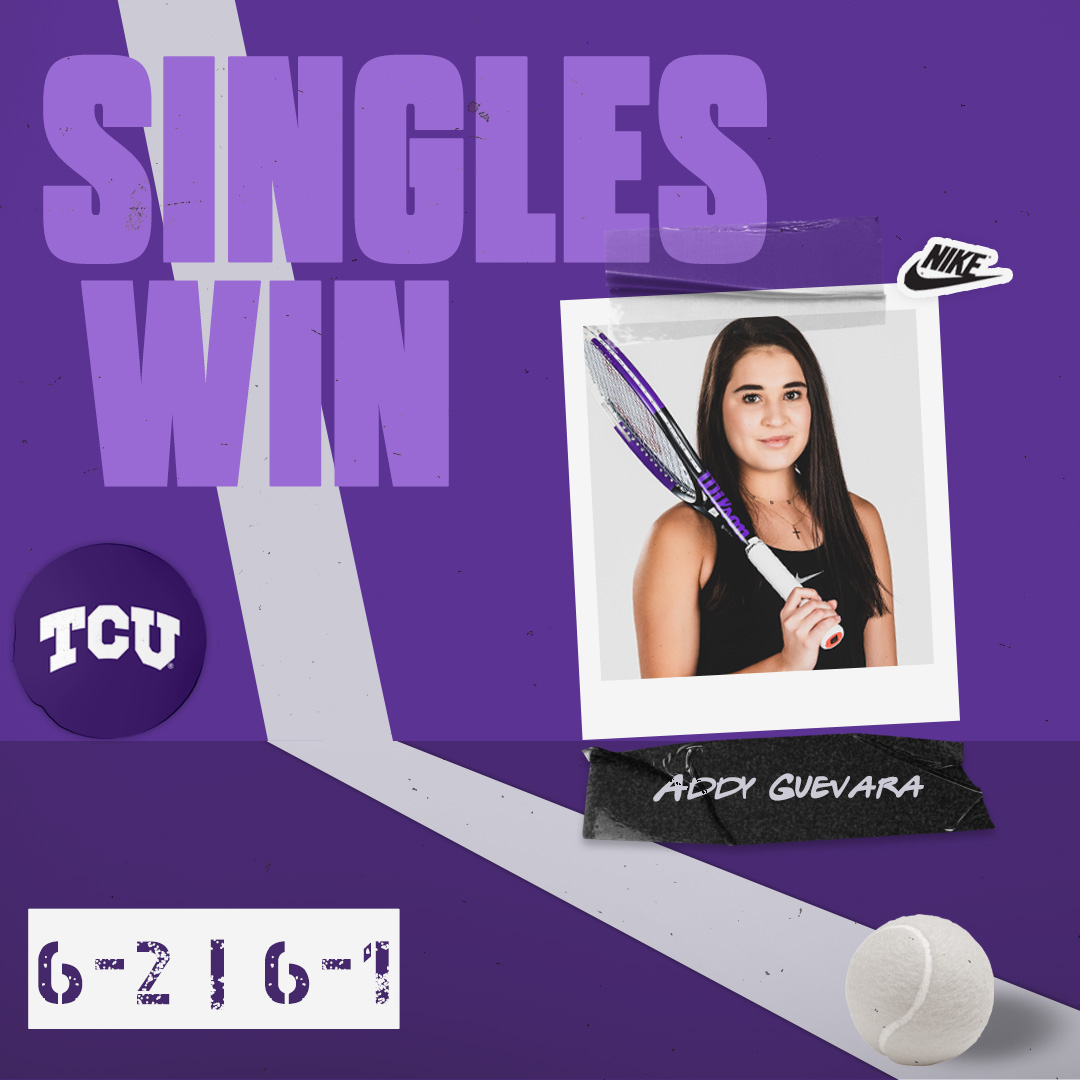 Another singles win for Addy Guevara!  She's now 5-0 in singles play in 2021 👀  #BuildBelief x #GoFrogs🐸🎾 https://t.co/qoyLt02PK0