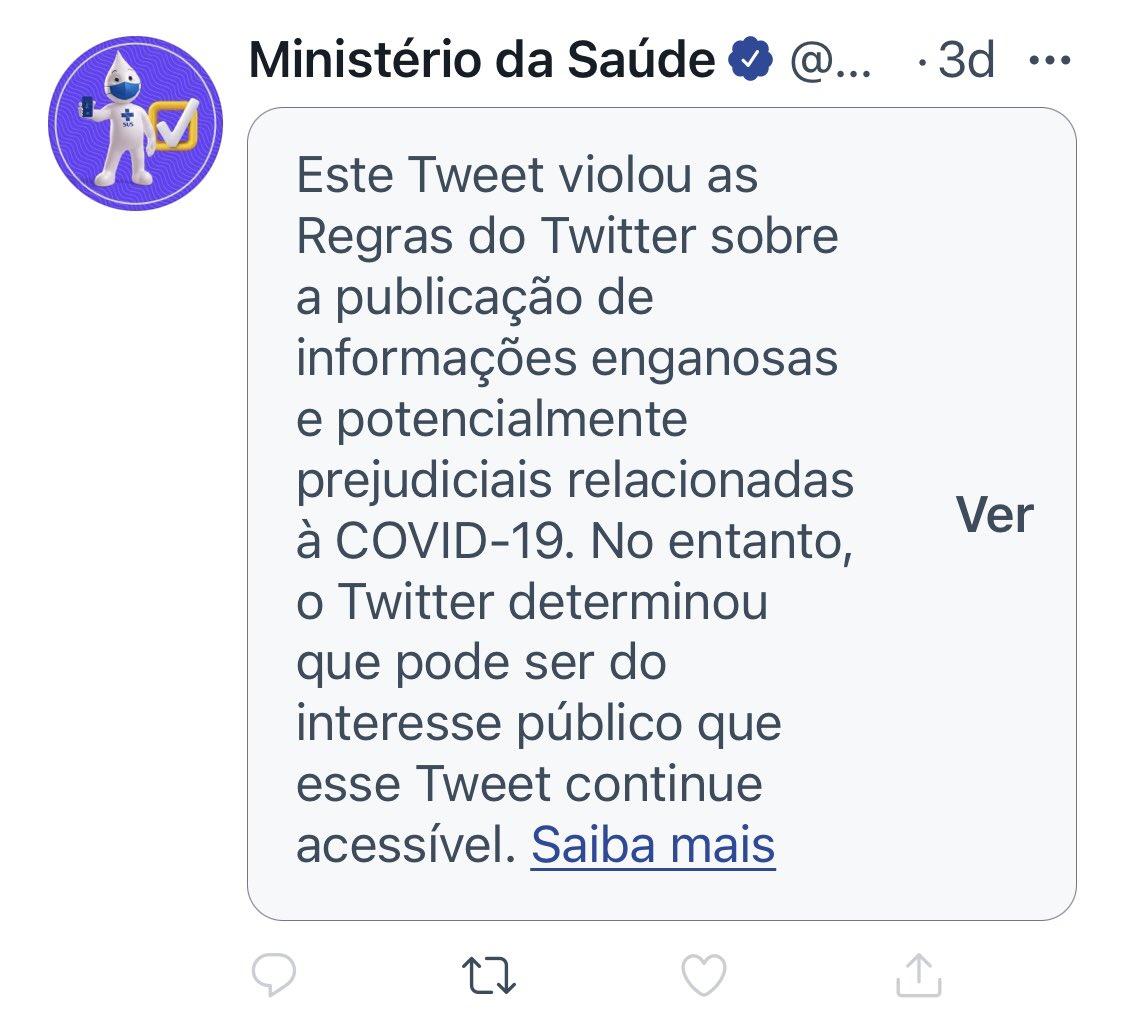 O Ministério da Saúde violou até as regras do Twitter por divulgar informações FALSAS sobre Covid-19. Em que outro lugar do mundo isso seria aceitável? Impeachment já! #ForaBolsonaro