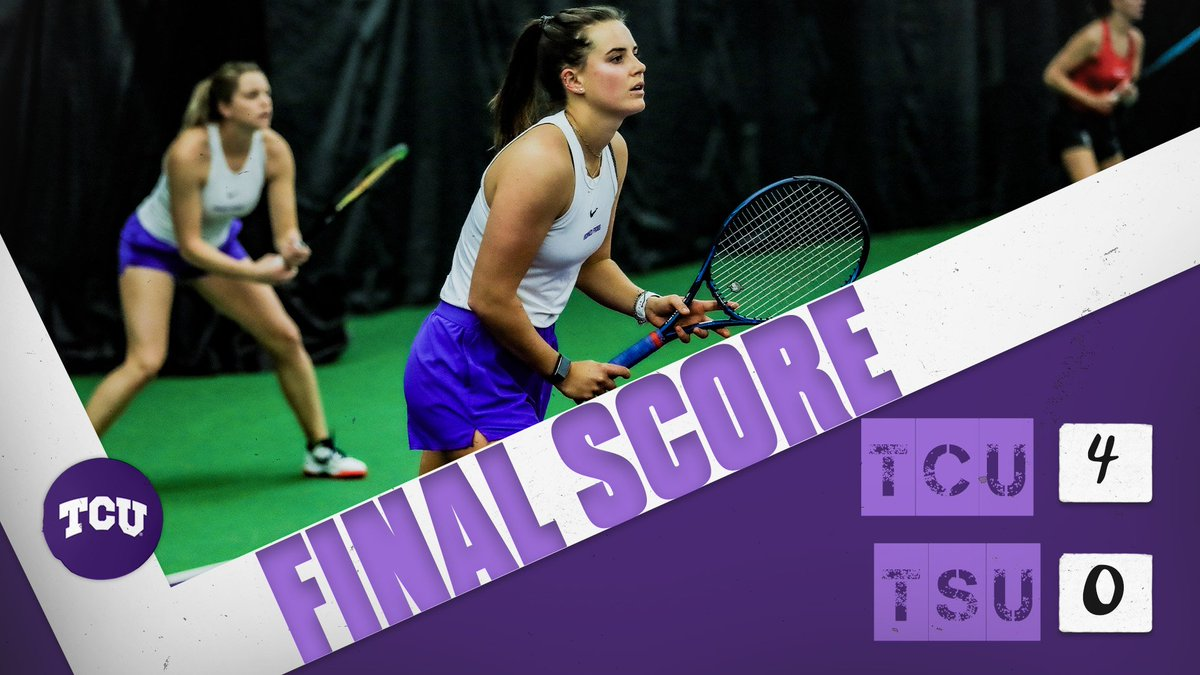 FROGS WIN‼️  TCU finishes the day 2-0 with a tidy victory over Tarleton St.  #BuildBelief x #GoFrogs🐸🎾 https://t.co/FYdJkZHDTz