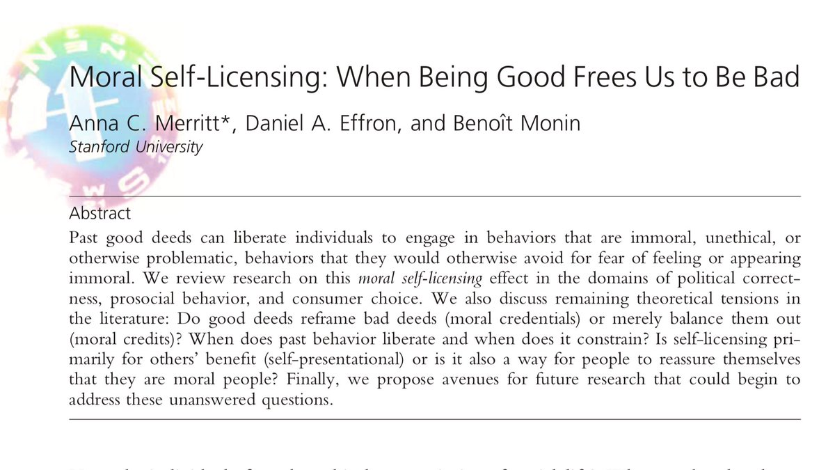 """I just learned about """"moral licensing""""—a psychological effect that empowers people who have previously had an ethical behavior to act unethically when the chance arises. Just talking about diversity has a moral licensing effect, and can negatively impact concrete action taking."""