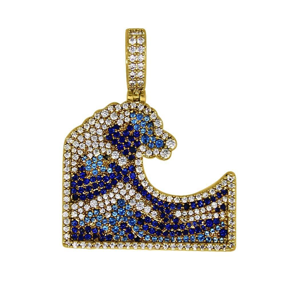 Emoji Blue Ocean Wave Gold Bling Bling Pendant!Shine With  #hiphop #hiphopbling #bling #model #photooftheday #instagood #nofilter #tbt #igers #picoftheday #love #nature #swag #lifeisgood #caseofthemondays
