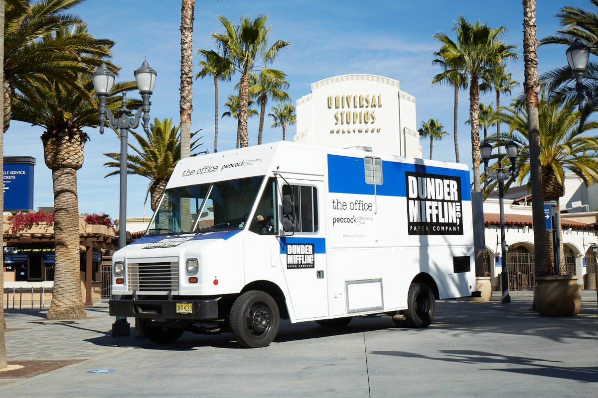 To celebrate #TheOfficeonPeacock, our fleet of #DunderMifflin trucks stopped at Universal #CityWalkLA and the Universal Backlot. Hi @NBCTheVoice, @JurassicWorld and @TheFastSaga! 👋