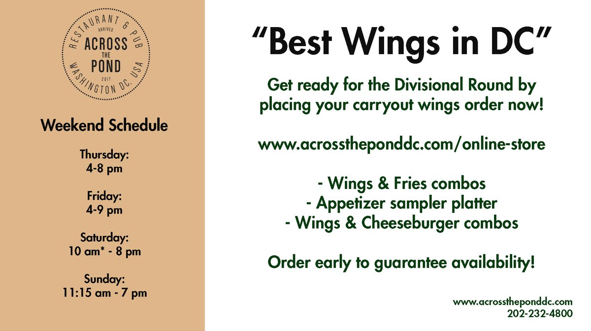 Don't feel like cooking?  Order wings, burgers and appetizers for #NFL action!  - Open until 8 pm  - Call 202/232-4800 - Contactless carryout:  - We're on @DCToGoGo,  UberEats, DoorDash & GrubHub  #Washingtondc #DupontCircle #GlutenFree #LARvsGB #BALvsBUF