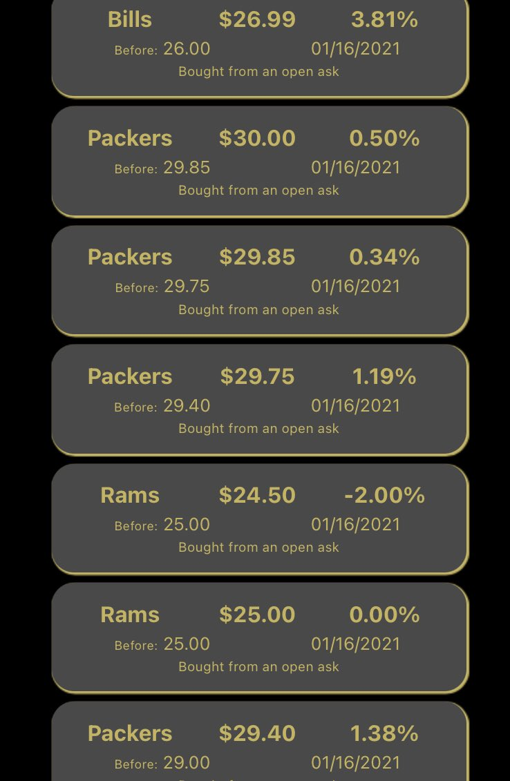 Packers trading up 2% during the game. Rams down 2%... also some movement up on the Bills before tonights game. #LARvsGB #GoPackGo #Ramshouse