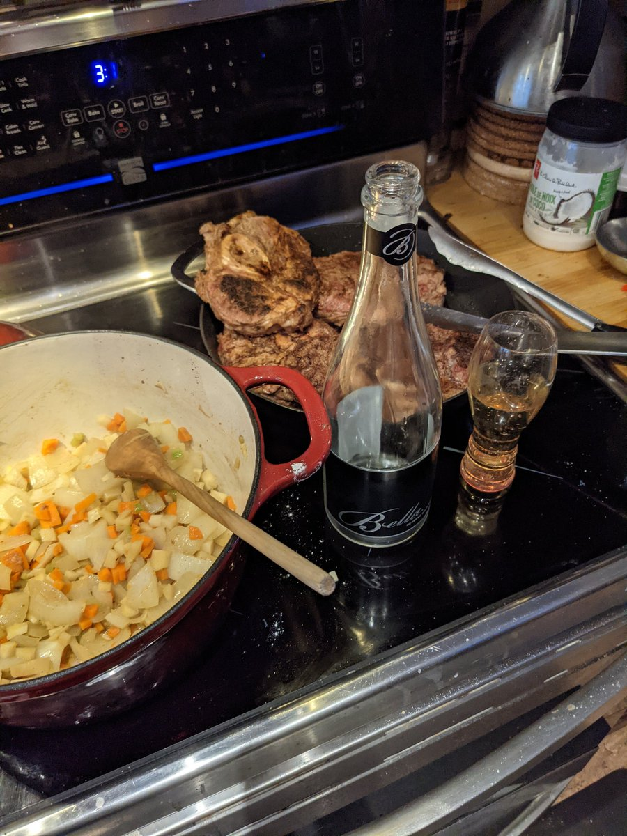 Enjoying an @Bellawines 2014 reserve brut while making Osso Buco for dinner.#bcwine #food