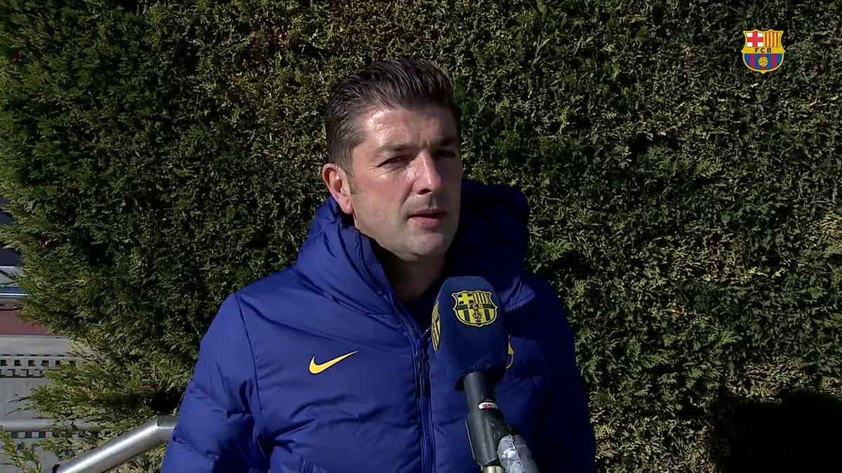🎥 Les declaracions del tècnic del Juvenil A, @FrancArtiga, després de la golejada davant l'Europa (5-0)  #ForçaBarça 💙❤️