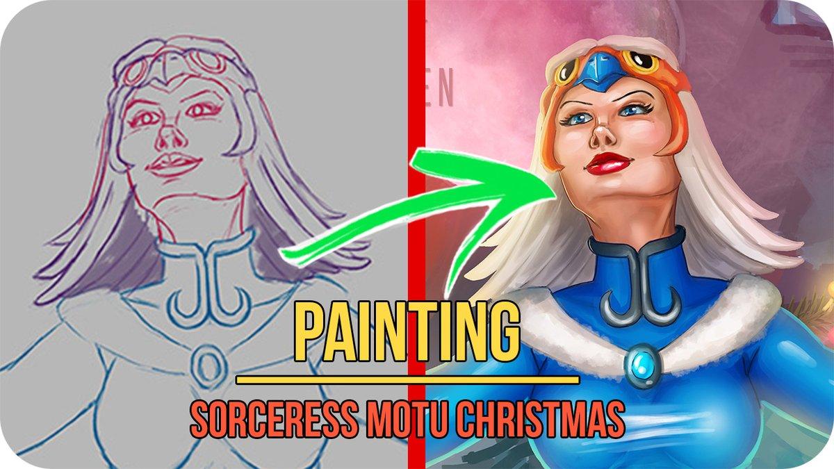 Youtube:  Sorceress MOTU Christmas- Commissions OPEN January 2021  #tutorial #lineart #painting #ladykraken #kraken #art #digital #drawing #fantasy #pinup #Sorceress #MOTU #Christmas #mastersoftheuniverse #heman #teela #skeletor #grayskull #xmas #holidays