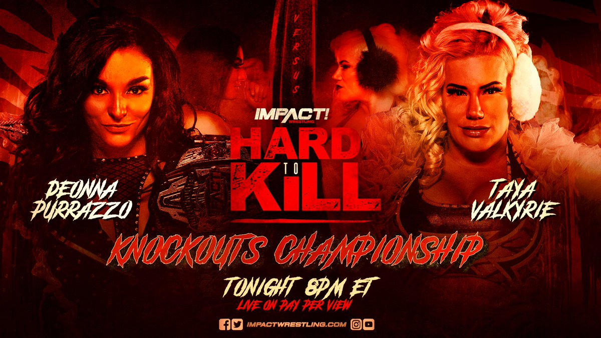 377 days. Thats how long @TheTayaValkyrie held the Knockouts Championship. The longest reign in history. Tonight she looks to begin her second reign at the expense of @DeonnaPurrazzo at #HardToKill! ORDER HERE: impac.tw/HardToKill
