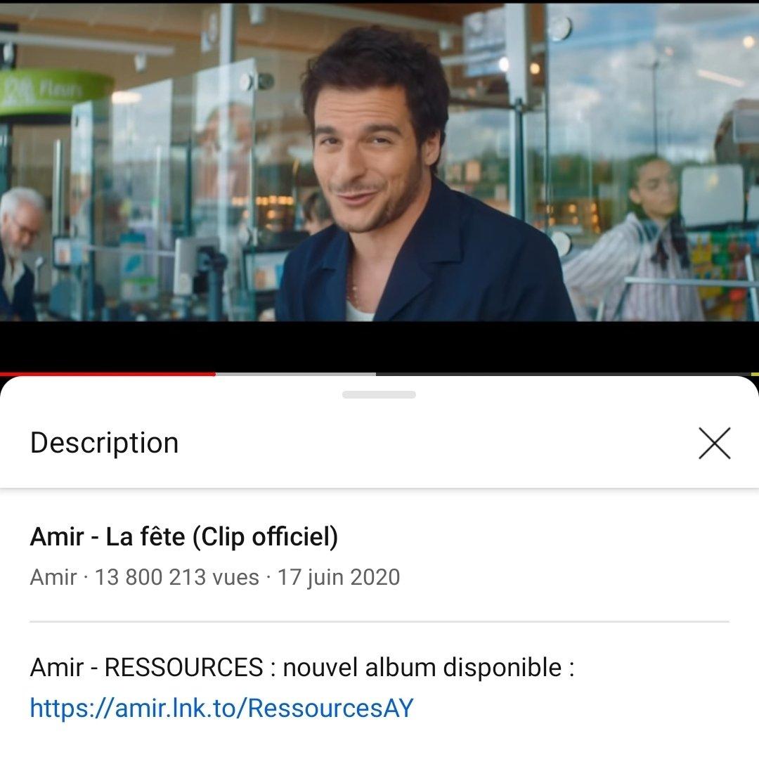 @Amir_Off ! #Ressources  #LaFete 🥳, 🥳, 🥳,  13 800 000 vues #YouTube !  Félicitations #Amir !  Excellent succes ! 🥳🥳🥳🥳🥳🥳