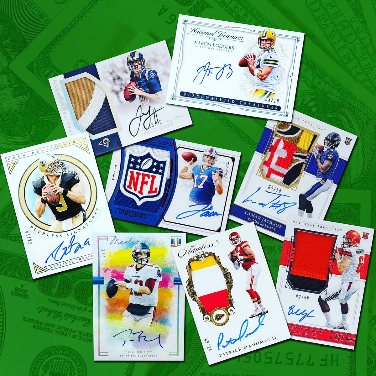 Big-name QBs with big-bucks @PaniniAmerica cards headline this weekend's Divisional Round of the #NFLPlayoffs. Who's your money on?  @JaredGoff16 or @AaronRodgers12? @Lj_era8 or @JoshAllenQB? @bakermayfield or @PatrickMahomes? @TomBrady or @drewbrees?  #WhoDoYouCollect | #NFL