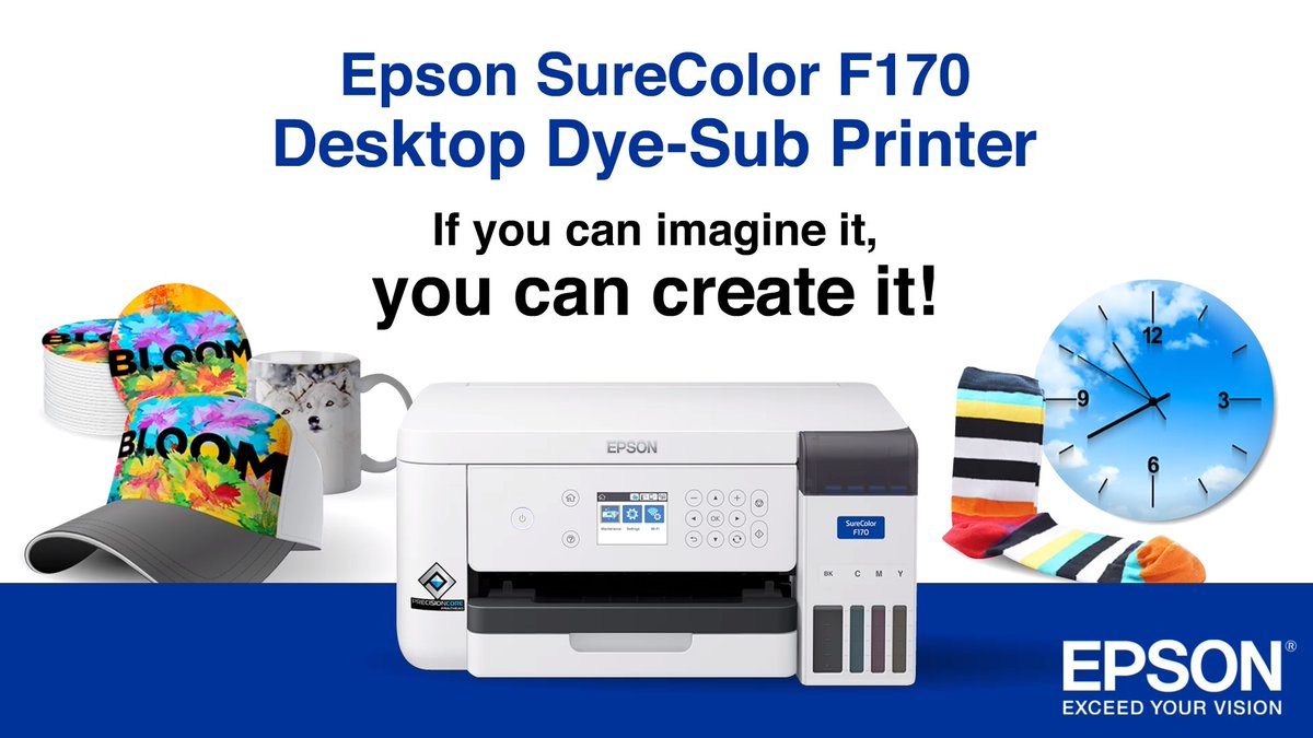 Turn your creativity into a successful business with the new SureColor F170 Dye-Sublimation printer! From face masks to phone covers, this compact, reliable printer  brings your ideas to life!