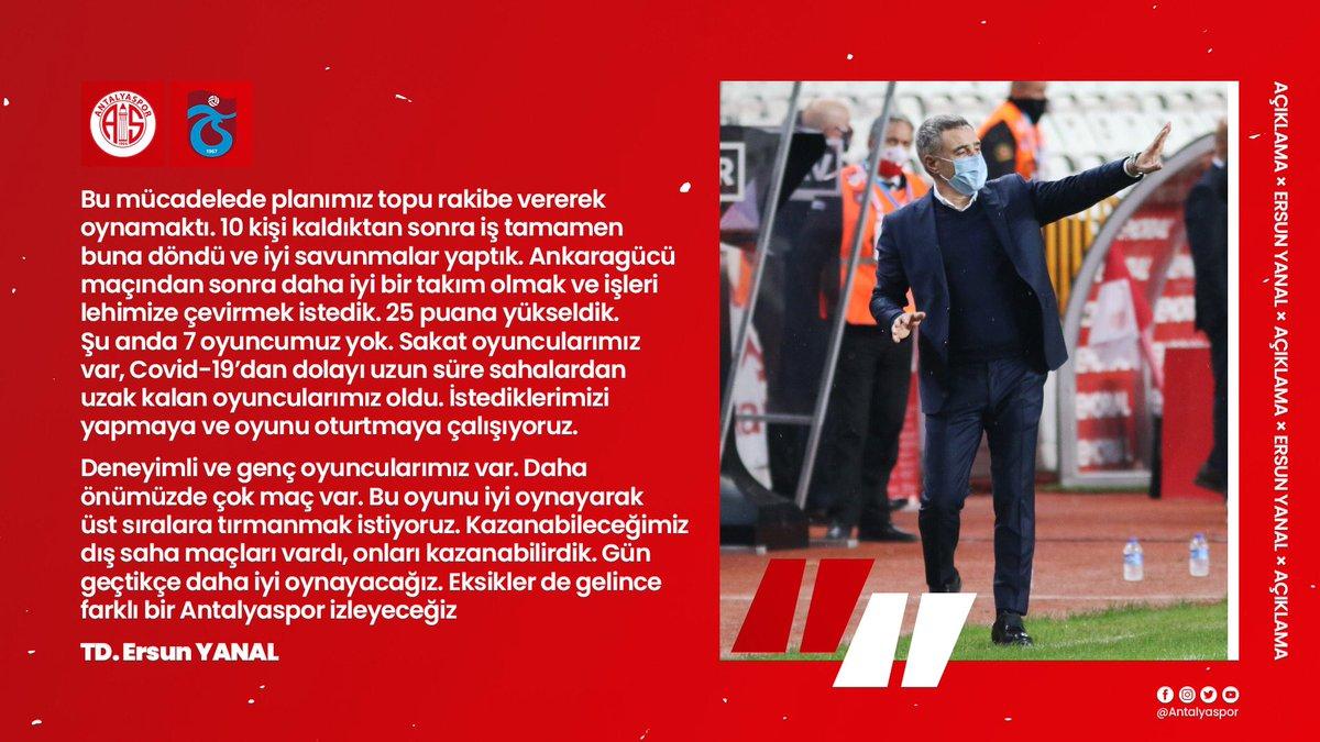 🎙 Teknik Direktörümüz @ersunyanal, Trabzonspor maçı sonrası açıklamalarda bulundu.   #FraportTAVAntalyaspor